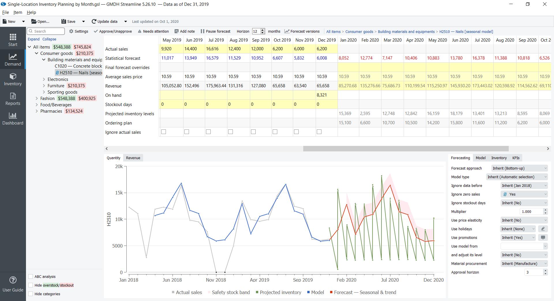 Zrzut ekranu przedstawiający wymianę szablonu GMDH Streamline do planowania zapasów Excel